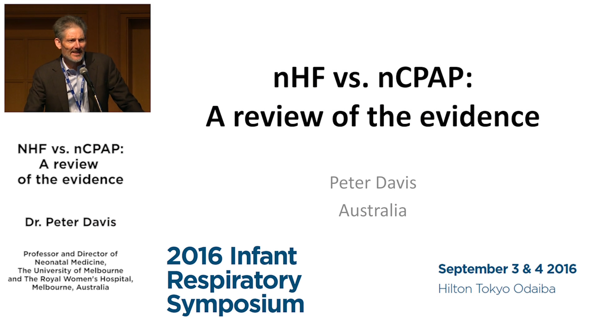 NHF vs. nCPAP: A review of the evidence - Dr Peter Davis
