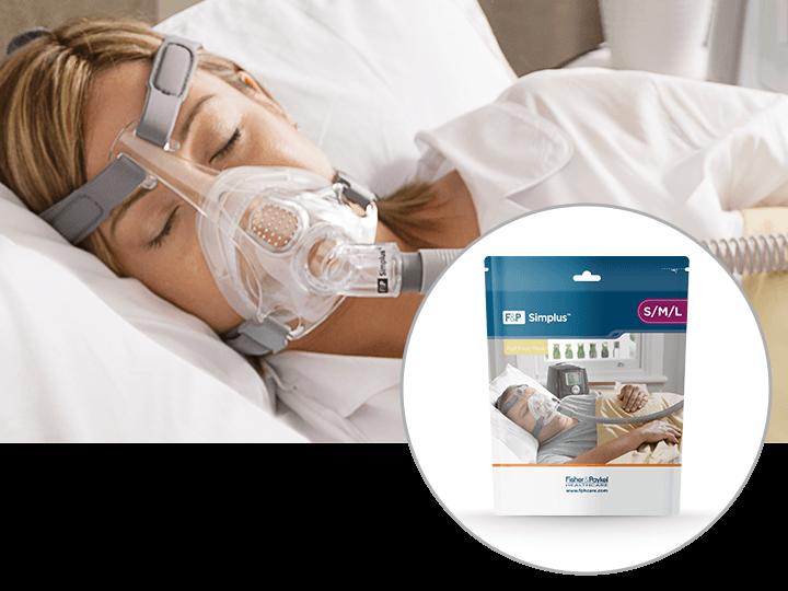 Man Sleeping using the F&P Simplus Full Face Mask