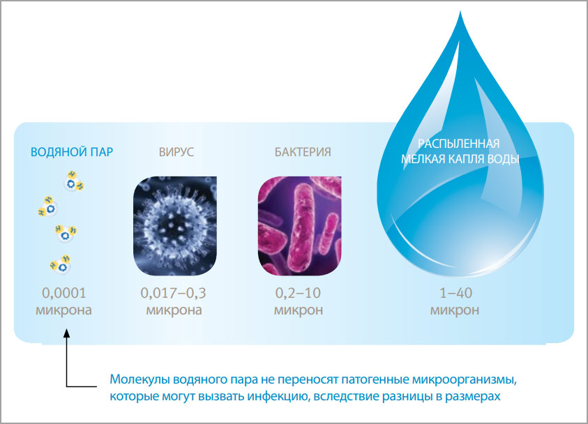 Water vapor molecules can not transport pathogens, which may cause infection, due to their respective size difference