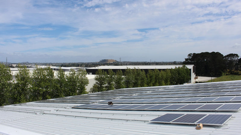 Solar panels at Fisher & Paykel Healthcare offices